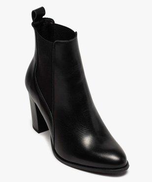 Boots femme à talon dessus style chelsea en cuir uni vue5 - GEMO(URBAIN) - GEMO