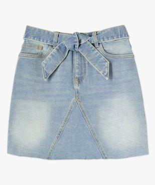 Jupe en jean femme courte avec ceinture à nouer vue4 - GEMO(FEMME PAP) - GEMO