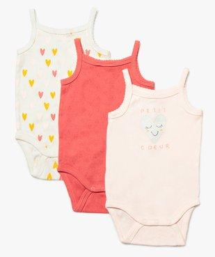 Body bébé fille à bretelles motifs cœurs (lot de 3)  vue1 - GEMO C4G BEBE - GEMO