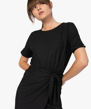 Robe femme à manches courtes avec bas façon portefeuille vue2 - GEMO(FEMME PAP) - GEMO