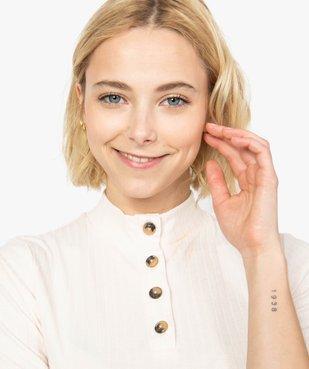 Tee-shirt femme en maille côtelée à manches courte vue2 - FOLLOW ME - GEMO