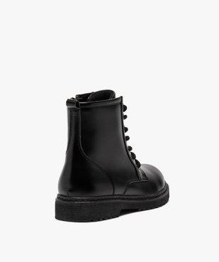 Boots fille unis à semelle crantée fermeture lacets et zip vue4 - GEMO (ENFANT) - GEMO