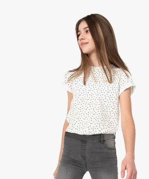 Tee-shirt fille imprimé avec broderie scintillante vue1 - GEMO (JUNIOR) - GEMO