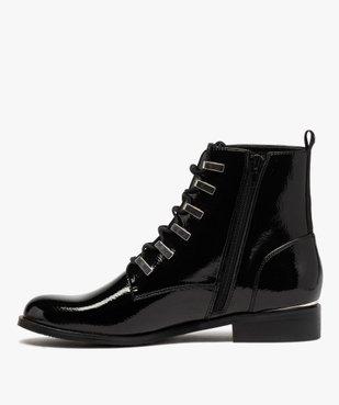 Boots femme unies et vernies à passants métalliques vue3 - GEMO (CASUAL) - GEMO
