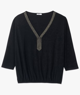 Tee-shirt femme avec col V fantaisie  vue4 - GEMO(FEMME PAP) - GEMO