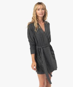 Veste d'intérieur femme en maille duveteuse avec ceinture à nouer vue1 - GEMO(HOMWR FEM) - GEMO