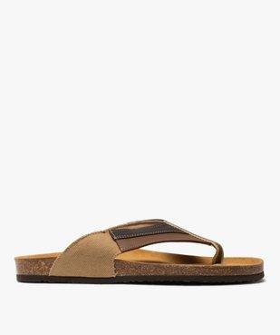 Sandales homme à bride entre-doigts en toile et cuir vue1 - GEMO (CASUAL) - GEMO