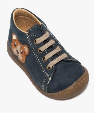 Chaussures premiers pas bébé garçon motif ourson vue5 - GEMO(BEBE DEBT) - GEMO