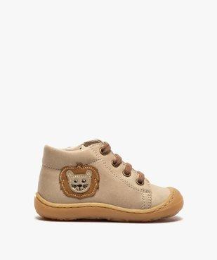 Bottines premiers pas bébé garçon en cuir avec décor lion vue1 - Nikesneakers(BEBE DEBT) - Nikesneakers