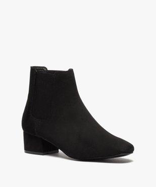Boots femme unies style chelsea à talon carré vue2 - GEMO (CASUAL) - GEMO