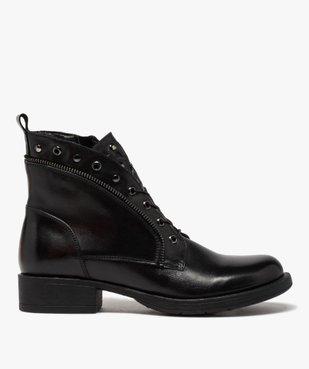Boots femme unies à talon plat style godillots dessus cuir vue1 - GEMO (CASUAL) - GEMO