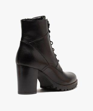 Boots femme à talon carré et dessus cuir façon godillots vue4 - GEMO(URBAIN) - GEMO