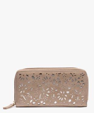 Portefeuille femme avec motifs ajourés à fermeture zippée vue1 - GEMO (ACCESS) - GEMO