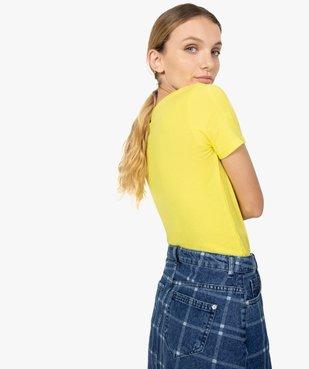 Tee-shirt femme ajusté en maille côtelée vue3 - FOLLOW ME - GEMO