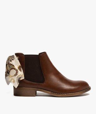 Boots femme style chelsea à talon plat et nœud foulard vue1 - GEMO (CASUAL) - GEMO