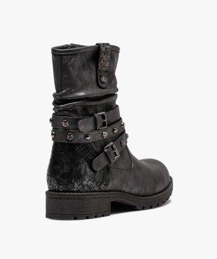Boots fourrées femme à semelle crantée et brides fantaisie vue4 - GEMO (CASUAL) - GEMO