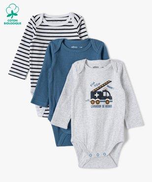 Body bébé garçon manches longues aux coloris assortis (lot de 3) vue1 - GEMO C4G BEBE - GEMO
