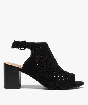 Sandales femme à talon carré dessus couvrant et ajouré vue1 - GEMO(URBAIN) - GEMO