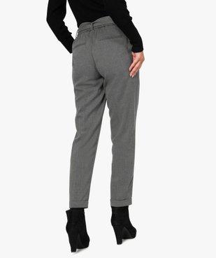 Pantalon femme chiné à ceinture et revers vue3 - GEMO(FEMME PAP) - GEMO