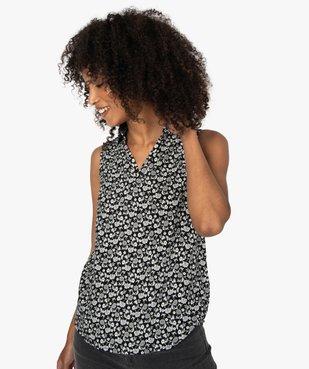 Blouse femme sans manches imprimée avec col chemise vue2 - Nikesneakers(FEMME PAP) - Nikesneakers