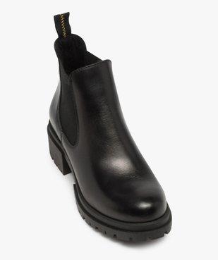 Boots femme style chelsea unis à talon carré et semelle crantée  vue5 - GEMO (CASUAL) - GEMO