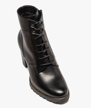 Boots femme à talon carré et dessus cuir façon godillots vue5 - GEMO(URBAIN) - GEMO