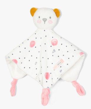 Doudou bébé à pois avec tête de nounours vue1 - GEMO - GEMO