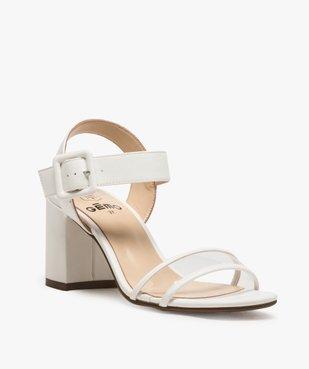 Sandales femme à talon carré et bride transparente vue2 - GEMO(URBAIN) - GEMO