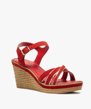 Sandales femme à talon compensé et détails métallisés vue2 - GEMO(URBAIN) - GEMO