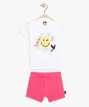 Ensemble fille (2 pièces) : short + tee-shirt - SmileyWorld vue1 - SMILEY - GEMO