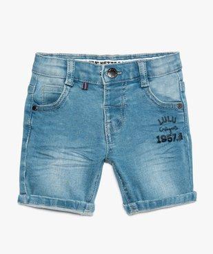 Bermuda bébé garçon en jean stretch délavé – Lulu Castagnette vue1 - LULUCASTAGNETTE - GEMO