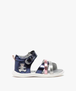 Sandales bébé fille métallisées à scratch - Lulu Castagnette  vue1 - LULU CASTAGNETT - GEMO