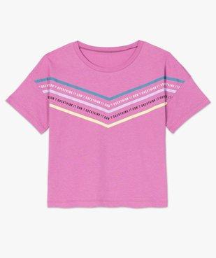 Tee-shirt femme avec inscriptions et bandes colorées vue4 - FOLLOW ME - GEMO