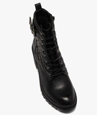 Boots femme à talon carré dessus en matière matelassée vue5 - GEMO(URBAIN) - GEMO