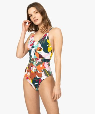 Maillot de bain femme une pièce multicolore avec ceinture vue1 - GEMO (PLAGE) - GEMO