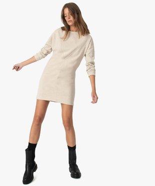 Robe femme façon sweat avec surpiqûres vue1 - GEMO(FEMME PAP) - GEMO