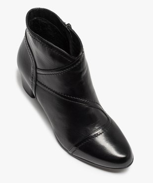 Boots femme à talon dessus cuir uni vue5 - GEMO(URBAIN) - GEMO