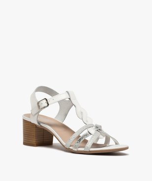 Sandales femme à talon carré et fines brides en cuir vue2 - GEMO(URBAIN) - GEMO
