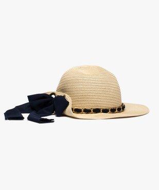 Chapeau de paille femme capeline avec ruban et chainette vue1 - GEMO (ACCESS) - GEMO