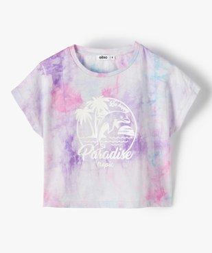Tee-shirt court fille avec motif scintillant sur l'avant vue2 - GEMO (ENFANT) - GEMO