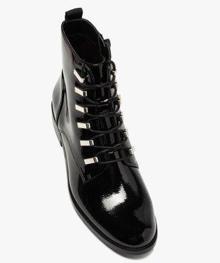 Boots femme unies et vernies à passants métalliques vue5 - GEMO (CASUAL) - GEMO