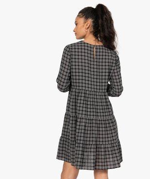 Robe femme ample à carreaux manches 3/4 vue3 - GEMO(FEMME PAP) - GEMO