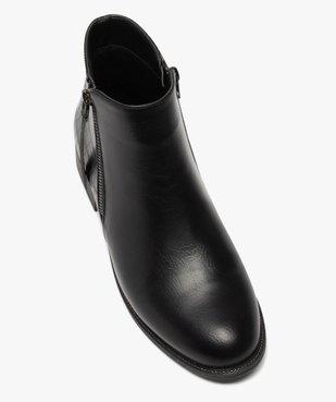 Boots femme unis à talon plat imitation croco vue5 - GEMO (CASUAL) - GEMO