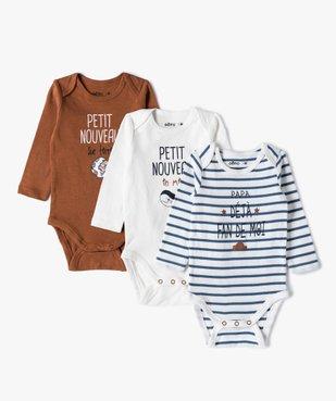 Body bébé garçon manches longues à motifs divers (lot de 3) vue1 - GEMO C4G BEBE - GEMO