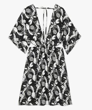 Robe de plage femme à motifs fleuris et fentes à la taille vue4 - GEMO (PLAGE) - GEMO