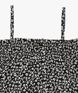 Blouse fille à col smocké et épaules dénudées motif fleuri vue2 - GEMO (JUNIOR) - GEMO