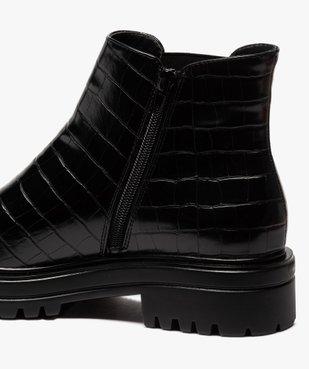 Boots femme unis à semelle crantée dessus imitation croco vue6 - GEMO (CASUAL) - GEMO