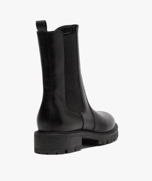 Boots femme unis style chelsea à semelle crantée vue4 - GEMO (CASUAL) - GEMO