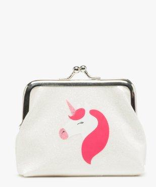 Porte-monnaie fille pailleté à motif licorne vue1 - GEMO (ENFANT) - GEMO