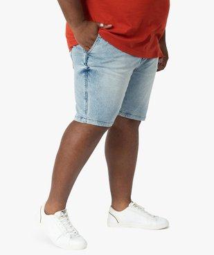Bermuda homme en jean stretch très délavé vue1 - GEMO (G TAILLE) - GEMO